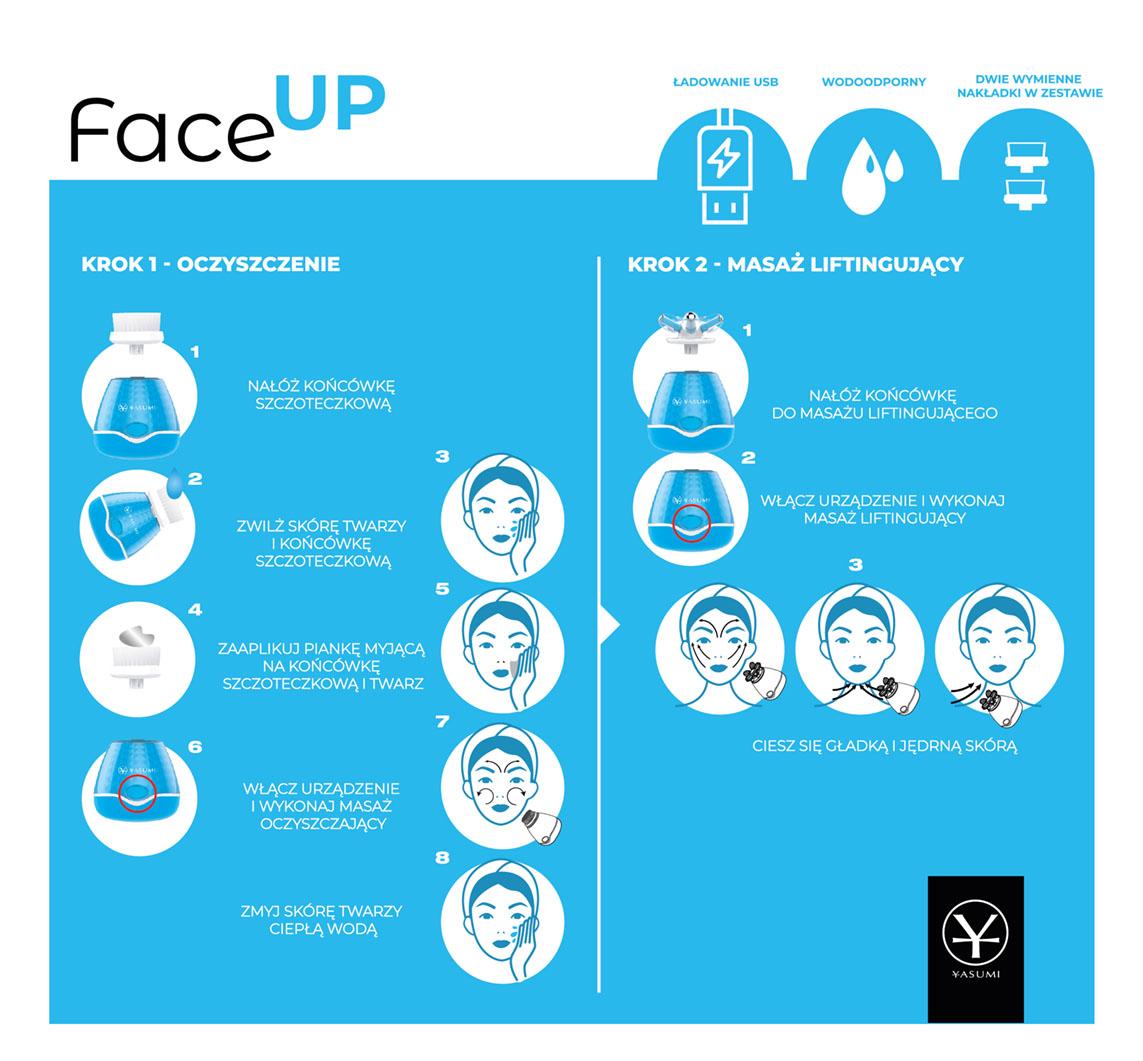 FACE UP - CLEANSING & LIFTING, urządzenie do domowej pielęgnacji, oczyszczanie, masaż liftingujący